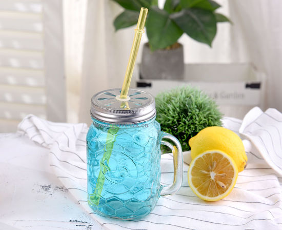 755ml Water Drinking Jar with Metal Cap with Straw