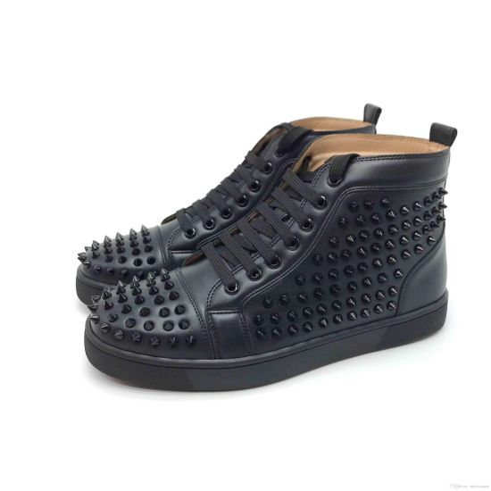 Designer Shoes Spike Red Bottom Sneakers Leather Shoes Junior Calf Casual Loafer Shoes Suede Luxury Men Women Size with Box Dust Bag