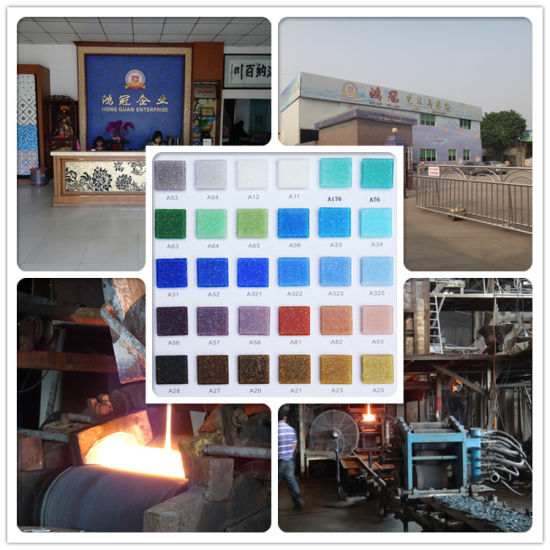 Glossy Shining Surface Bright Blue Iridensent Radom Design Glass Mosaic pictures & photos