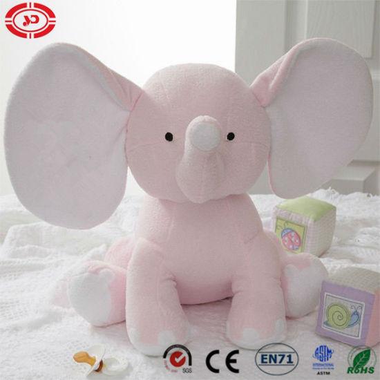 China Pink Elephant Cute Baby Plush Soft Stuffed Sitting Embroidered