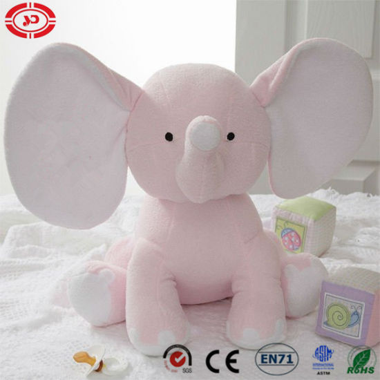Pink Elephant Sitting Animal Baby Plush Soft Stuffed Embroidered Toy