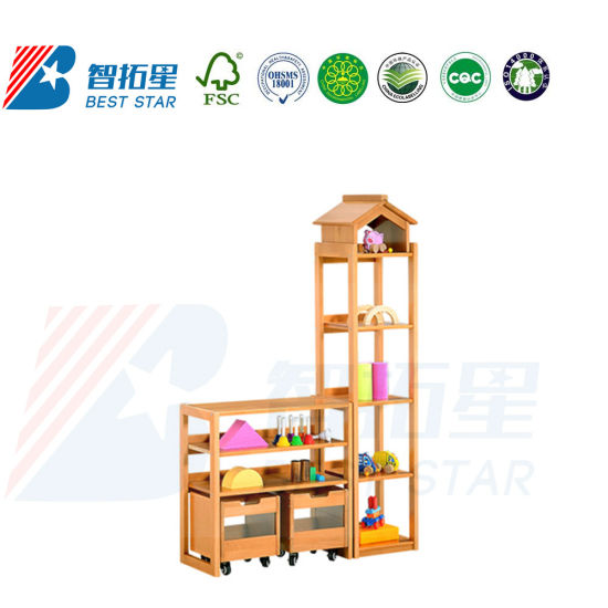 Combination Display Rack and Cabinet for Kinderargen,Day Care Furniture Kid's Rack, School Furniture Children Wooden Cabinet,Playroom Furniture Toy Storage Rack