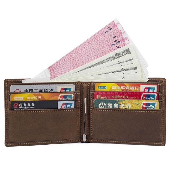 Amazon Hot Sale Vintage Brown Leather RFID Cards Wallet Leather Money Clip Slim Wallet for Men