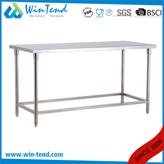 Stainless Steel Round Tube Shelf Reinforced Robust Construction Kitchen Workbench with Height Adjustable Leg for Sale