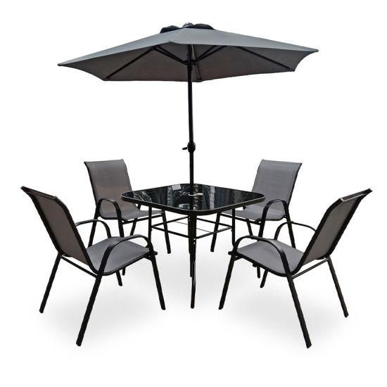 Outdoor 5 Piece Folding Teslin Furniture with Umbrella Seats 4 Chair Patio Dining Furniture Set