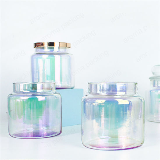 Luxury 350ml Translucent Iridescent Glass Candle Jar with Metal Lids