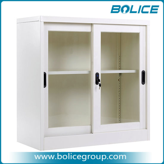 China Classic Design Office Glass Sliding Door Steel Cupboard