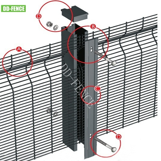 BS1722 High Security Hot Sale Airport Fence Anti Climb Wire Mesh 358 for Prison Border Gas Refine Treatment Plant Railway Power Station