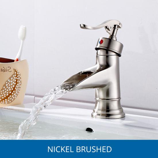 Flg Basin Faucet Brushed Nickle Sink Bathroom Waterfall Faucet/Tap