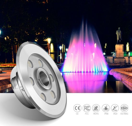 316L Stainless Steel IP68 Waterproof 6W LED Underwater Fountain Pool Light