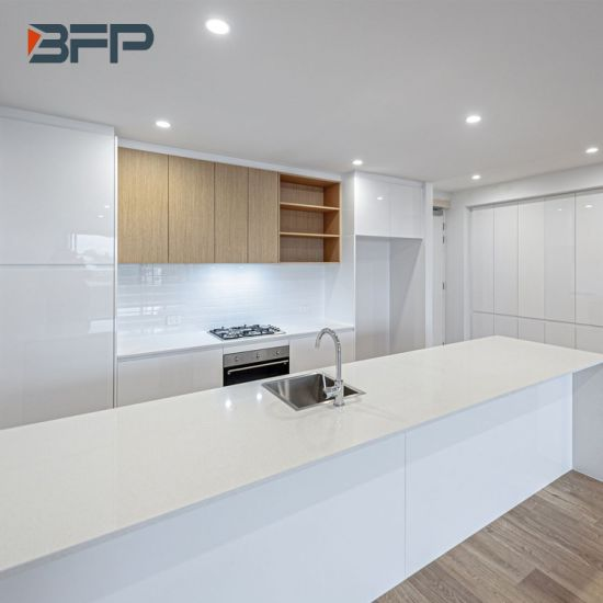 China Modern White High Gloss And Oak Color Kitchen Cabinets With Island And Breakfast Bar Blk 45 China Kitchen Cabinets Modern Kitchen Cabinets