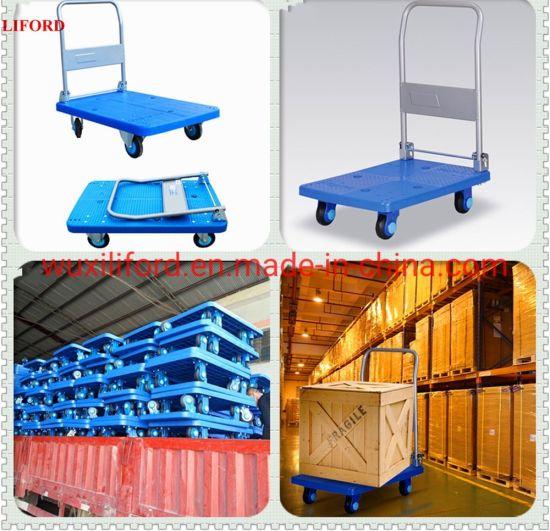 300kg Load Foldable Four Wheel Plastic Platform Mute Trolley