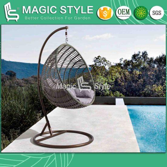 China Patio Wicker Swing With Cushion Outdoor Metal Swing Rattan Weaving Swing Wicker Balcony Hammock Garden Rattan Hanging Chair China Outdoor Furniture Patio Furniture
