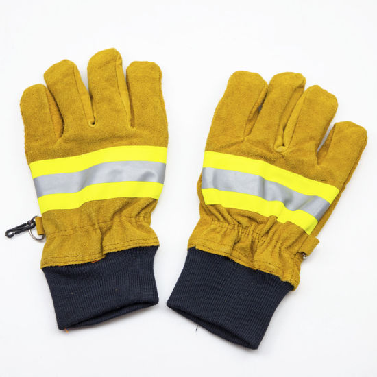 Wholesale Firefighter Fireman Fire Fighting Waterproof Protective Safety Leather Work Gloves