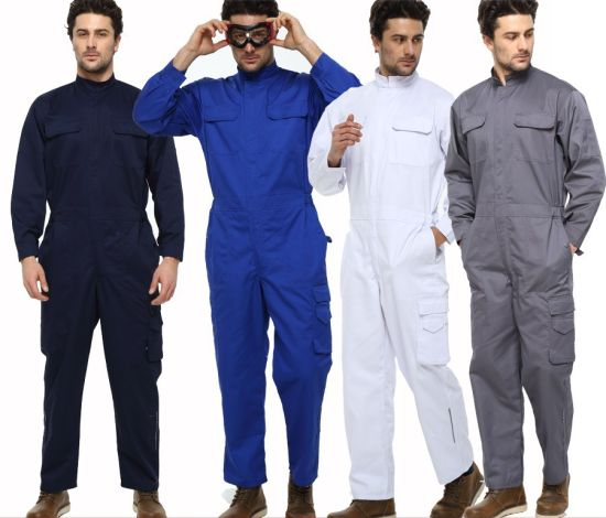 Wholesale Custom Polyester Cotton Boiler Suit Safety Work Workwear Factory Solid Color Coverall Uniform