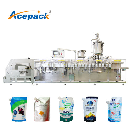 Horizontal Automatic Doypack Forming Filling Corner Spout Pouch Editable Oil/ Liquid/ Yogurt/ Juice Hot Filling Packing Packaging Machine