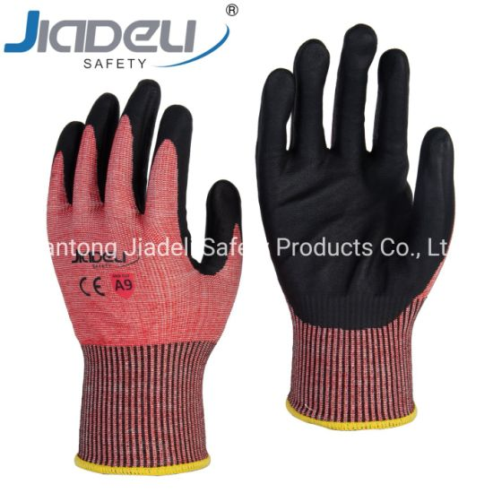 BSCI Certified Manufacturer Custom Logo Personal Hands Safety 13 Gauge A9 Shell, Black Foam Nitrile on Palm
