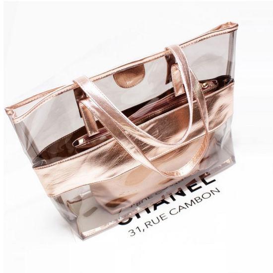 Promotional Summer PVC Waterproof Transparent Crystal Leisure Tote Beach Bag