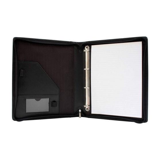 Simulated Leather 3-Ring Binder Portfolio Padfolio Zipper Organizer  Black New