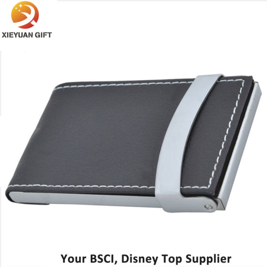 China Fashion Business Card Holder With Black Leather Opened China