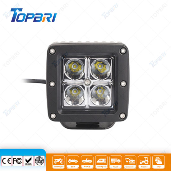 12W Truck Car Offroad Working Light Square LED Work Auto Lamps