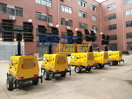 Portable LED Light Tower Hydraulic Telescopic Vertical Vehicle Truck Mounted Mobile Lighting Tower 8.5m Movable Light Plant pictures & photos