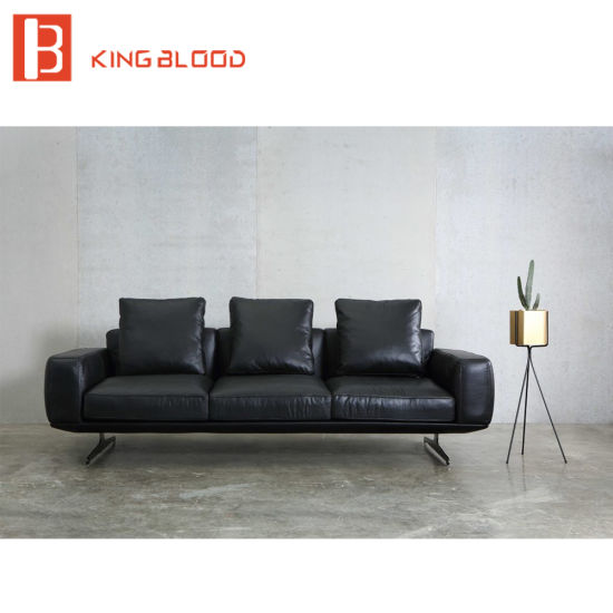 Italian Style Top Black Nappa Genuine Leather Sofa For Living Room