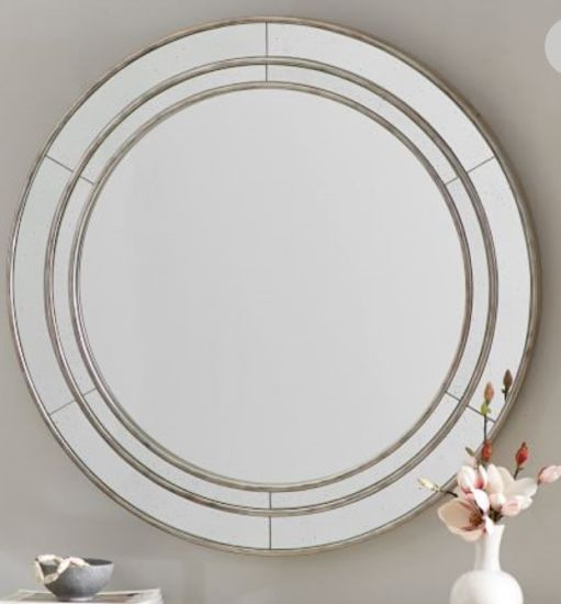 36 Inch Modern Wood Round Antiqued and Paneled Glass Wall Mirror Lh-19041201 pictures & photos