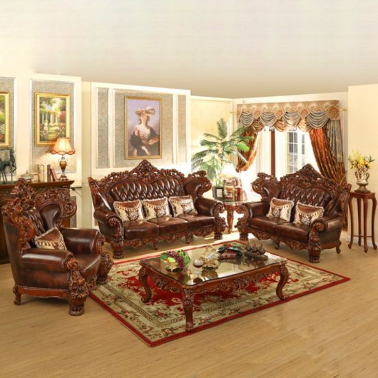 Antique Wood Leather Sofa Set For Home Furniture 529