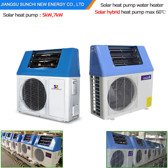Top10 Hot Sell Home Dhw Using Tankless 220V Very High Cop5.32, 5kw, 7kw, 9kw Save 85% Power 65c Hot Water Solar Hybrid Heat Pump Heater