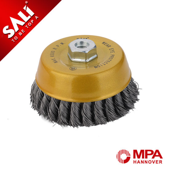 "4"" Knotted Tempered Steel Wire Cup Brush for Rust Removing pictures & photos"