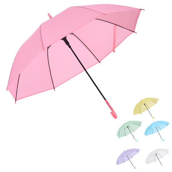 Stock Wholesale Fashion Design Promotion Transparent Clear PVC TPU Poe Umbrella