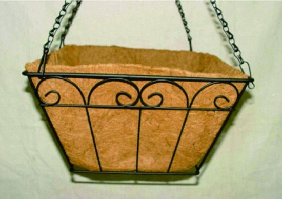 Square 12 Inch Hanging Basket with Coconut Shell & China Square 12 Inch Hanging Basket with Coconut Shell - China ...