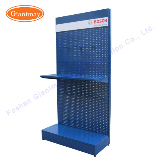 Floor Standing Retail Store Exhibition Metal Display Pegboard Tool Shelf Rack pictures & photos