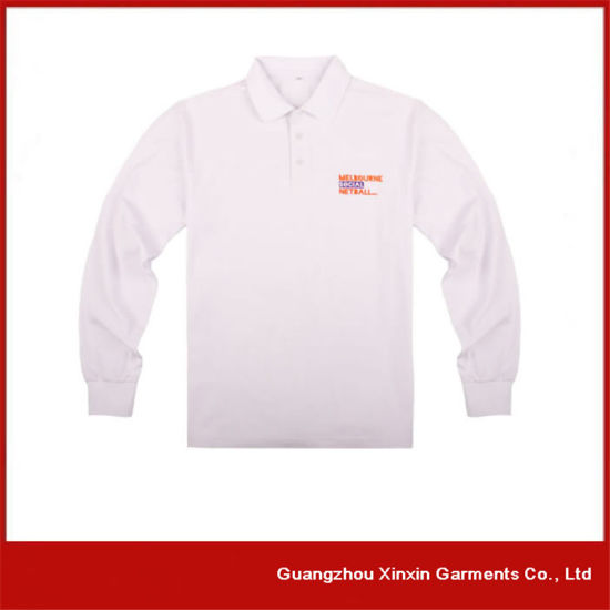 53ceb1243 100% Cotton Custom Embroidery Logo Plain Blank Black and Grey Color  Combination Long Sleeve Polo Shirt (P163)