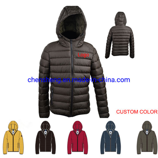 Custom Wholesale Casual Warm Hooded Mens Coat Light Puffer Winter Down Jacket for Men
