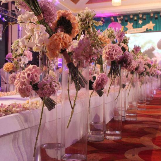 China Cylinder Acrylic Wedding Flower Vase For Banquet Centerpiece