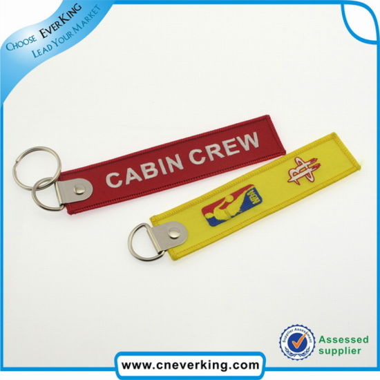 Promotional Polyester Luggage Applique Embroidery Label Keychain pictures & photos