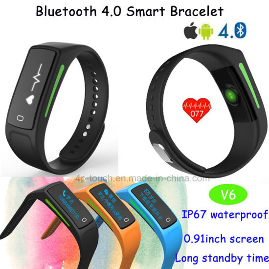 OLED Display Smart Silicone Bracelet with Heart Rate Monitor V6 pictures & photos