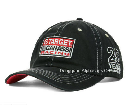 91edf571f OEM Embroidery Design Black Cotton Racing Motercycle Sports Cap with Magic  Tape Back