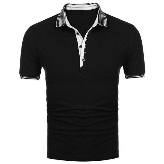 Mens Short Sleeve Striped Collar Casual Comfortable New Polo Shirt