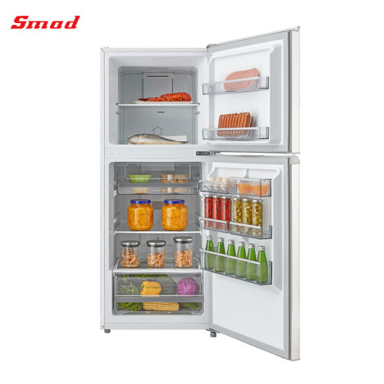 No Frost Freestanding White Silver Stainess Steel Double Door Refrigerator