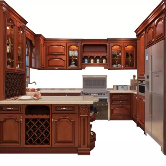 High End Quality U Shape Cherry Wood Kitchen Furniture From Factory