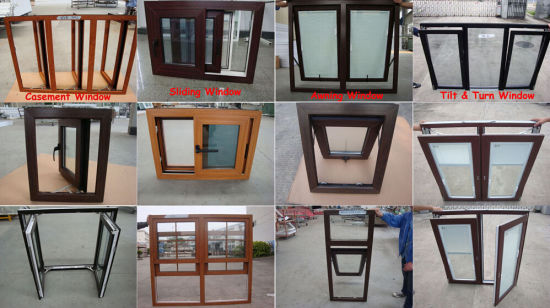 Wooden Color UPVC Profile Double Glazed Windows pictures & photos