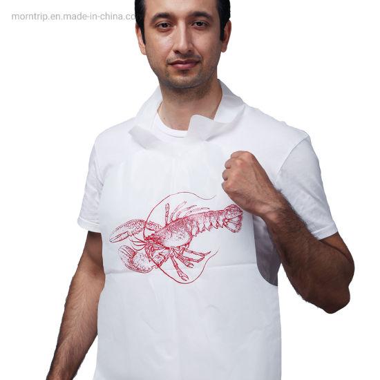 High Quality Plastic Disposable Sea Food Restaurant Tie on Bibs