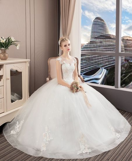 7bd47d4bb77 2018 Wedding Dress Bridal Gown White Wedding Bridal Dresses with Cap Sleeves
