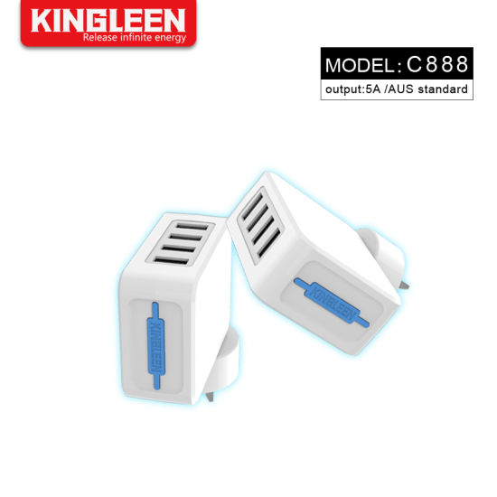 SAA Plug 4-Port USB Travel Wall Charger Power Smart Chip for iPhone, Samsung