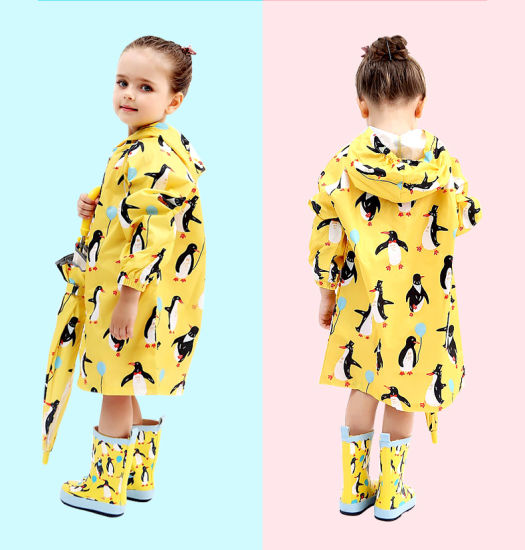 Cute Small Waterproof Nylon Rain Coat Animal Print Boy Children Girls  Windproof Poncho