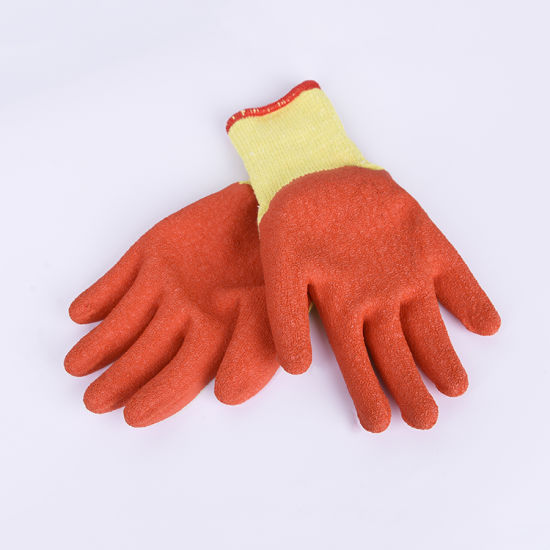 Good Price Poiycotton Knitted Liner Crinkle Latex Coated Work Safety Gloves with Customized Color