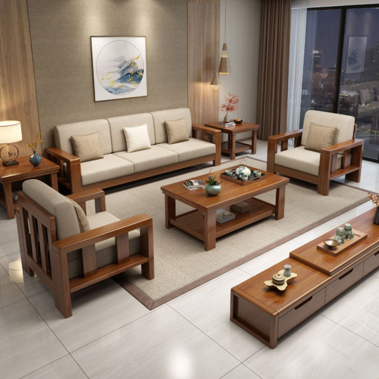 Chinese Style Solid Wood Hotel Living Room Vintage Leather Two Seater Sofa